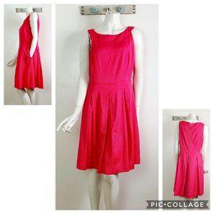 Tahari ASL 12 Coral Pink Pleated Spring Dress
